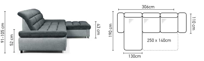 Roma St Sectional Sofa Bed